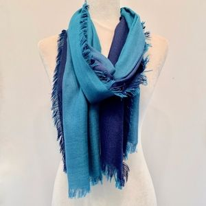 Nordstrom Cashmere Silk Two-tone Blue Wrap Scarf